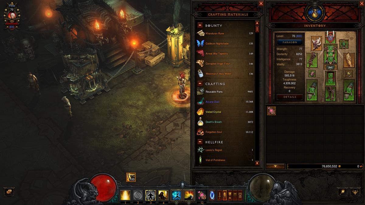 Скриншот из игры Diablo 3 Rise of the Necromancer. На изображении новая крафтовая панель.