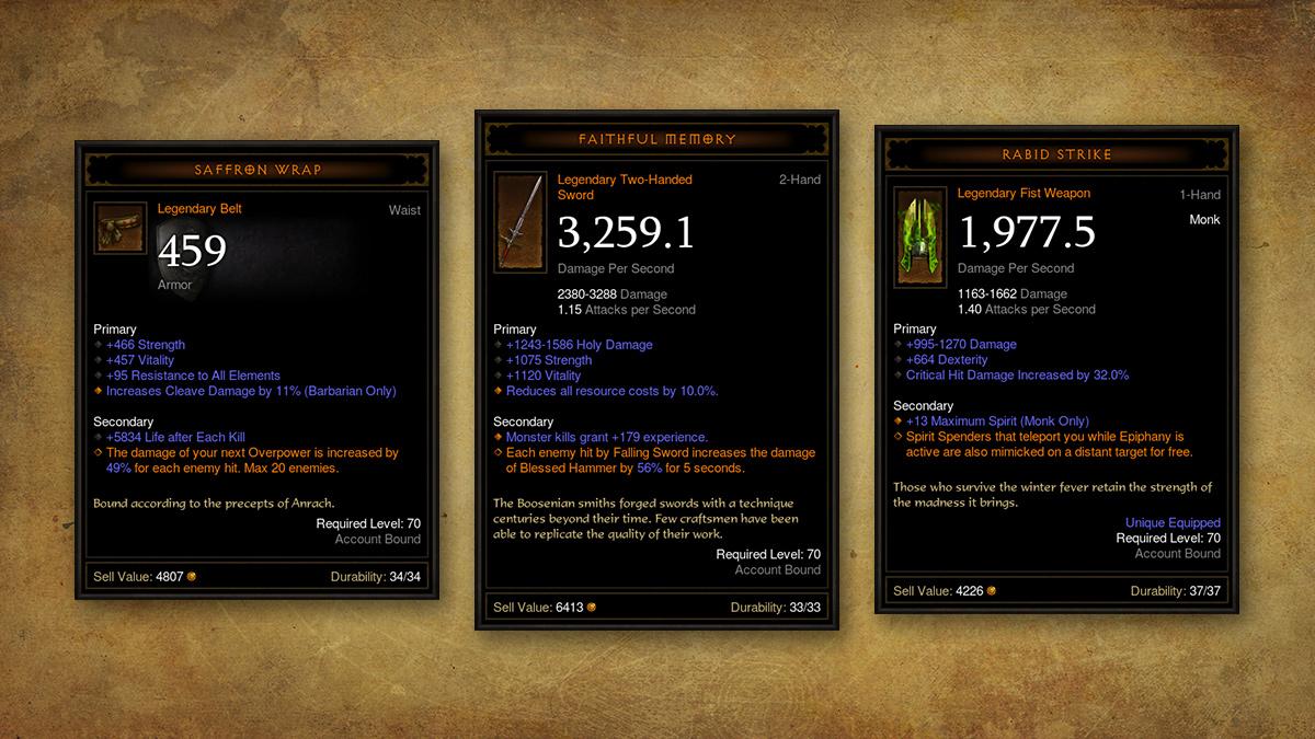 Скриншот из игры Diablo 3 Rise of the Necromancer. На изображении новая легендарная экипировка..