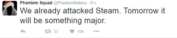 Перевод: мы уже атаковали Steam. Завтра будет что-то по интереснее.