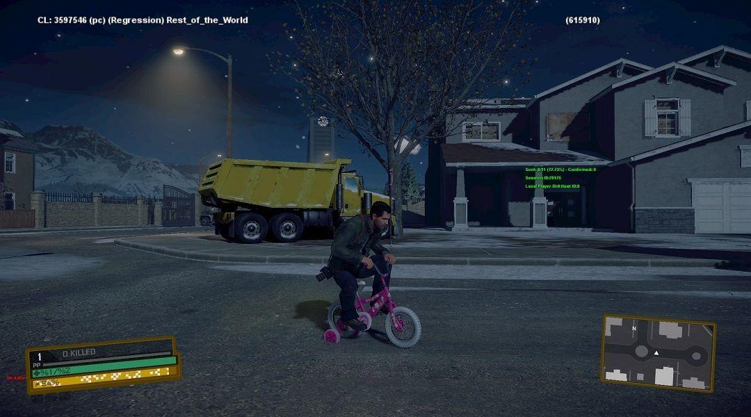 Ничто так не бодрит, как ночная езда на детском велосипеде по ночному городу в Dead Rising 4