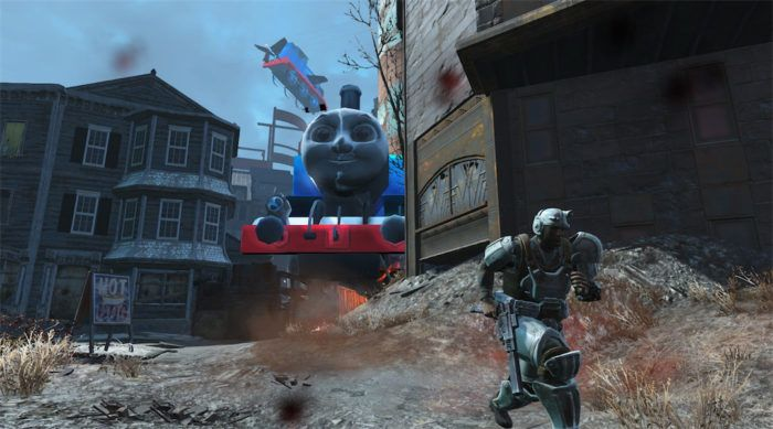Мод на Fallout 4. На скриншоте не очень дружелюбный паровозик Томас