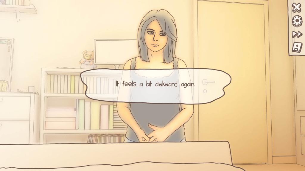 Скриншот из One Night Stand. Перевод: Я чувствую себя немного неловко снова.