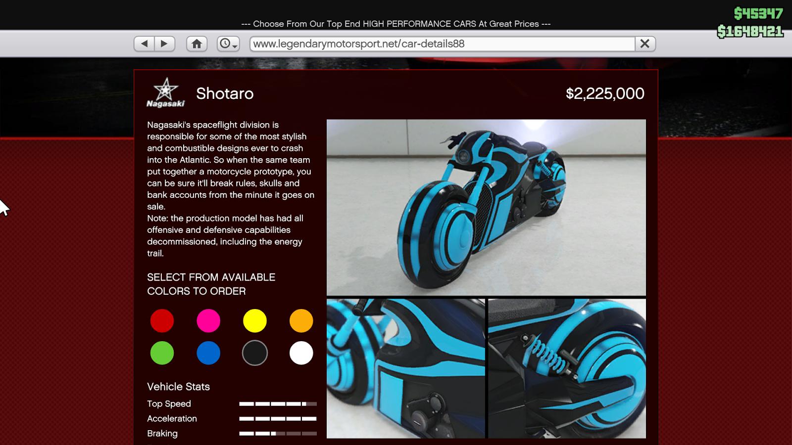 Deadline дополнение для GTA Online: мотоцикл Shotaro